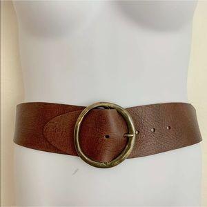 Genuine Leather Waist Belt Brown Bronze Buckle Lrg